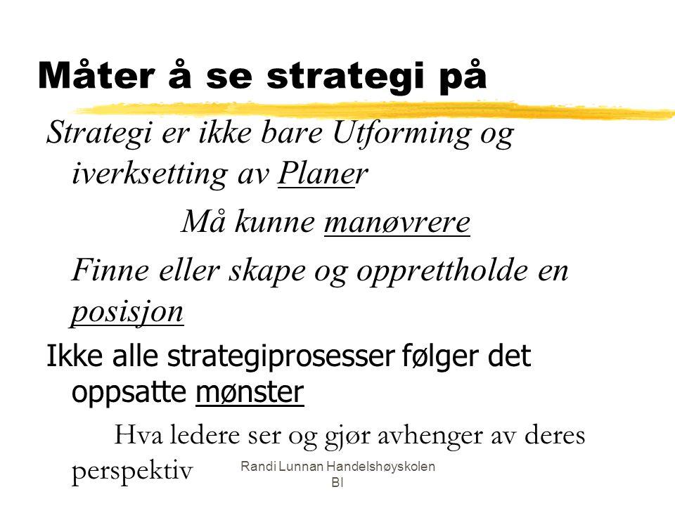 Randi Lunnan Handelshøyskolen BI Måter å se strategi på Strategi er ikke bare Utforming og iverksetting av Planer Må kunne manøvrere Finne eller skape