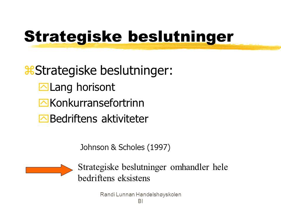 Randi Lunnan Handelshøyskolen BI Strategiske beslutninger zStrategiske beslutninger: yLang horisont yKonkurransefortrinn yBedriftens aktiviteter Johns