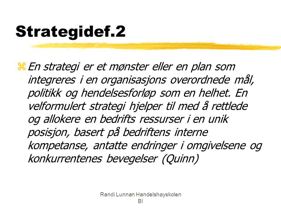 Randi Lunnan Handelshøyskolen BI Strategidef.2 zEn strategi er et mønster eller en plan som integreres i en organisasjons overordnede mål, politikk og