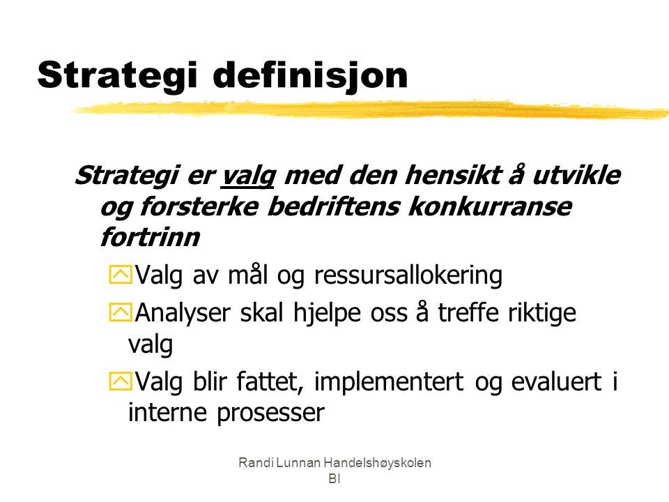 Randi Lunnan Handelshøyskolen BI Strategi definisjon Strategi er valg med den hensikt å utvikle og forsterke bedriftens konkurranse fortrinn yValg av