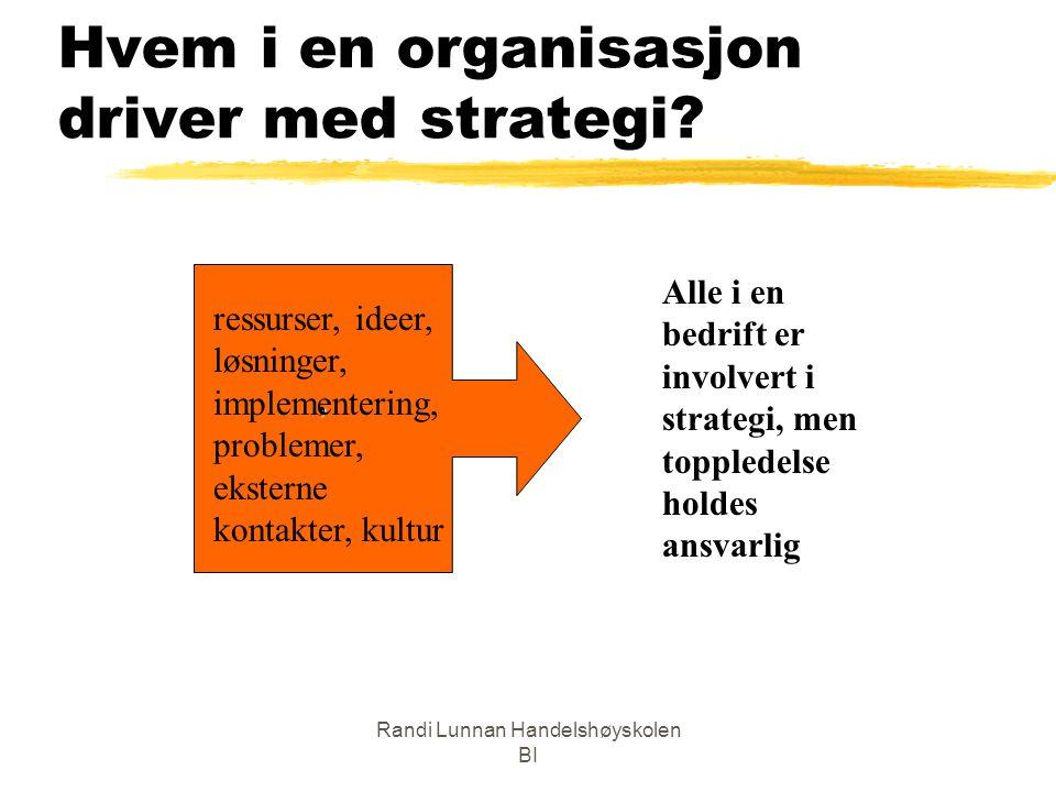 Randi Lunnan Handelshøyskolen BI Hvem i en organisasjon driver med strategi? Alle i en bedrift er involvert i strategi, men toppledelse holdes ansvarl