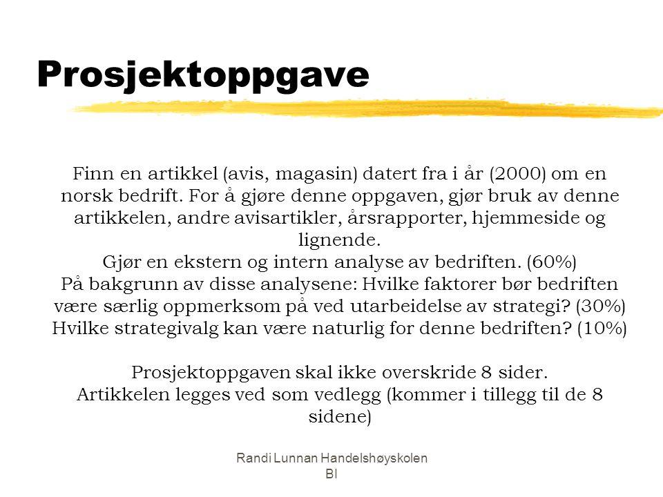 Randi Lunnan Handelshøyskolen BI Prosjektoppgave Finn en artikkel (avis, magasin) datert fra i år (2000) om en norsk bedrift. For å gjøre denne oppgav
