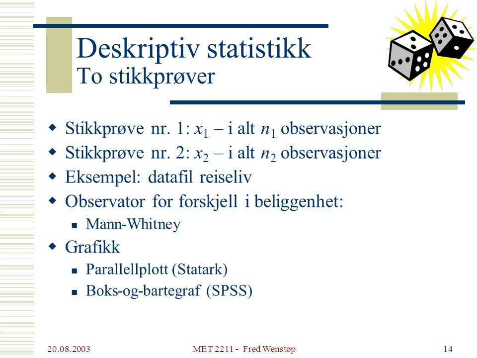 20.08.2003 MET 2211 - Fred Wenstøp13 Deskriptiv statistikk Én stikkprøve  Tilfeldig variabel: x  En stikkprøve: i alt n observasjoner av x Eksempel: