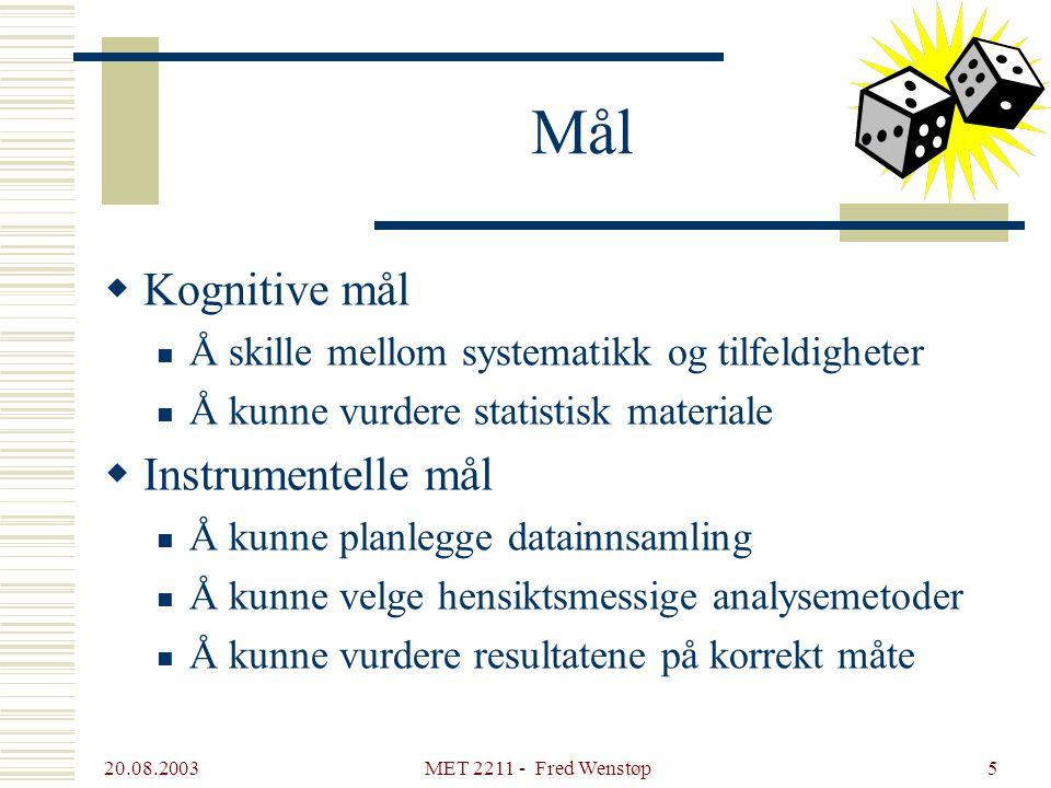 20.08.2003 MET 2211 - Fred Wenstøp4 Programvare  Excel Må bli like naturlig som tekstbehandling  Statark Excel-implementering av sentrale deler av p