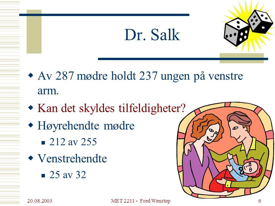 20.08.2003 MET 2211 - Fred Wenstøp6 Dr.Salk  Av 287 mødre holdt 237 ungen på venstre arm.