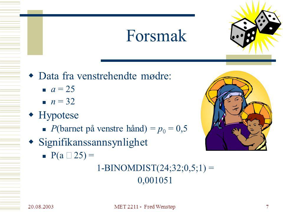 20.08.2003 MET 2211 - Fred Wenstøp7 Forsmak  Data fra venstrehendte mødre: a = 25 n = 32  Hypotese P(barnet på venstre hånd) = p 0 = 0,5  Signifikanssannsynlighet P(a  25) = 1-BINOMDIST(24;32;0,5;1) = 0,001051