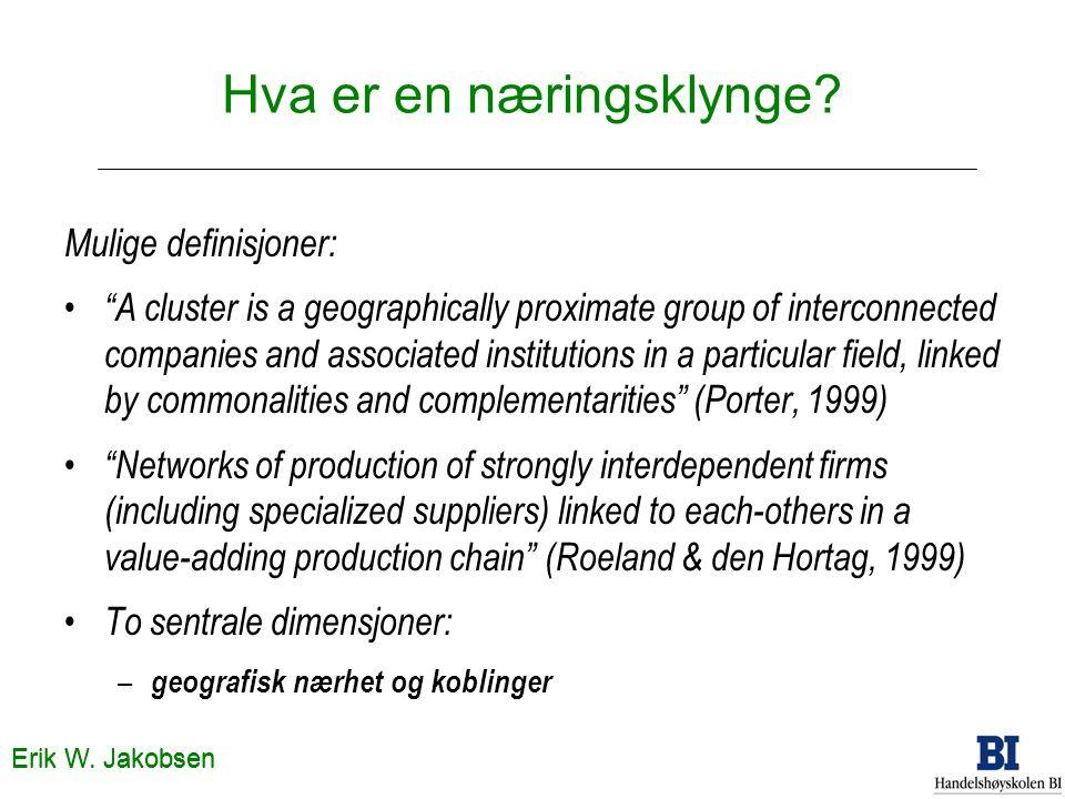 "Erik W. Jakobsen Hva er en næringsklynge? Mulige definisjoner: ""A cluster is a geographically proximate group of interconnected companies and associat"