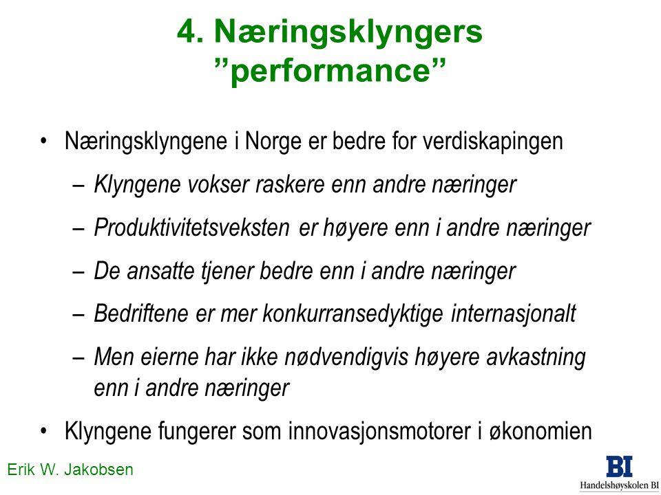 """Erik W. Jakobsen 4. Næringsklyngers """"performance"""" Næringsklyngene i Norge er bedre for verdiskapingen – Klyngene vokser raskere enn andre næringer – P"""