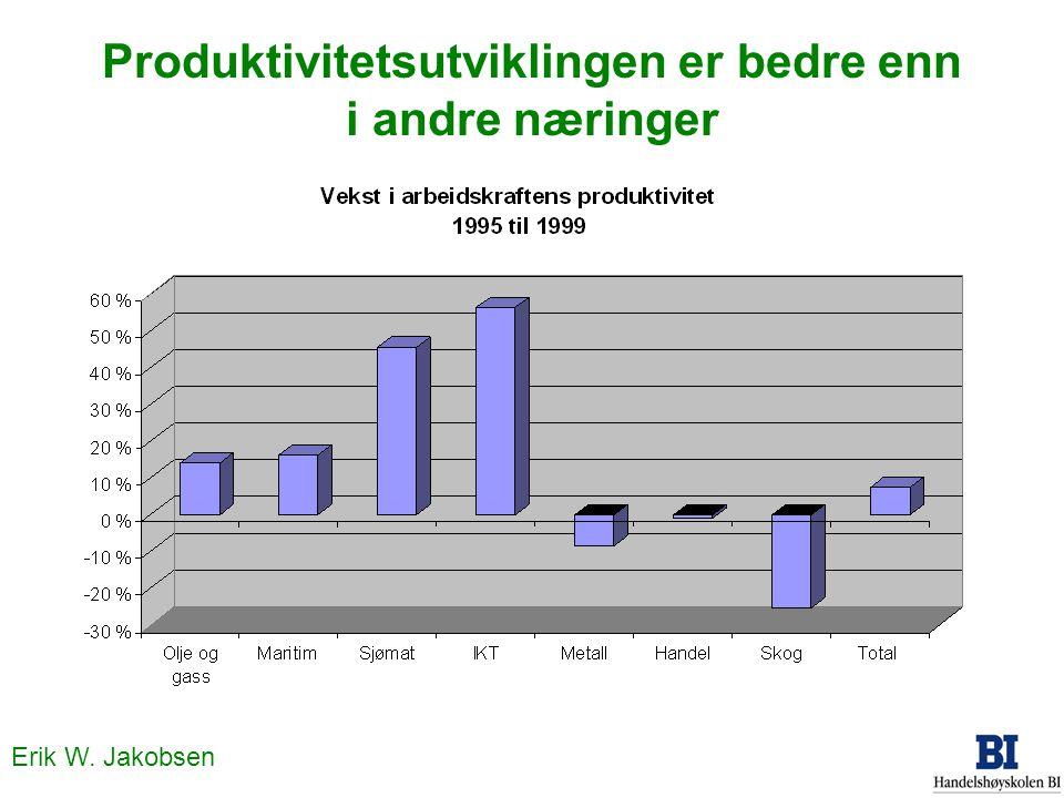 Erik W. Jakobsen Produktivitetsutviklingen er bedre enn i andre næringer