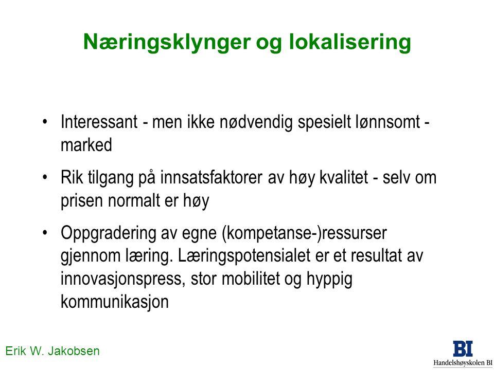 Erik W. Jakobsen Næringsklynger og lokalisering Interessant - men ikke nødvendig spesielt lønnsomt - marked Rik tilgang på innsatsfaktorer av høy kval