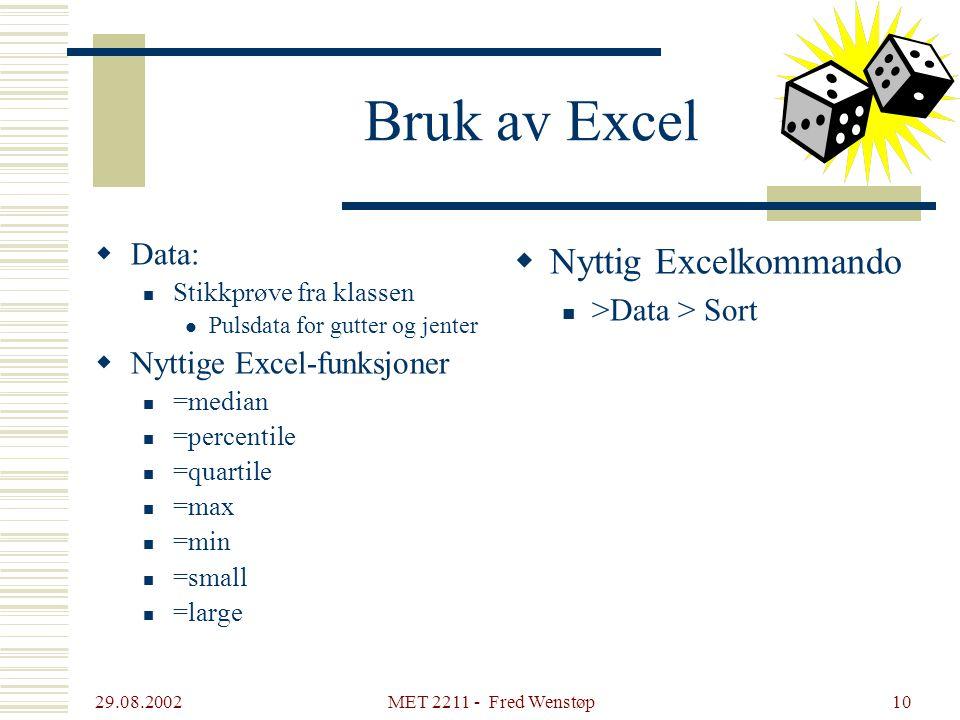 29.08.2002 MET 2211 - Fred Wenstøp10 Bruk av Excel  Data: Stikkprøve fra klassen Pulsdata for gutter og jenter  Nyttige Excel-funksjoner =median =pe