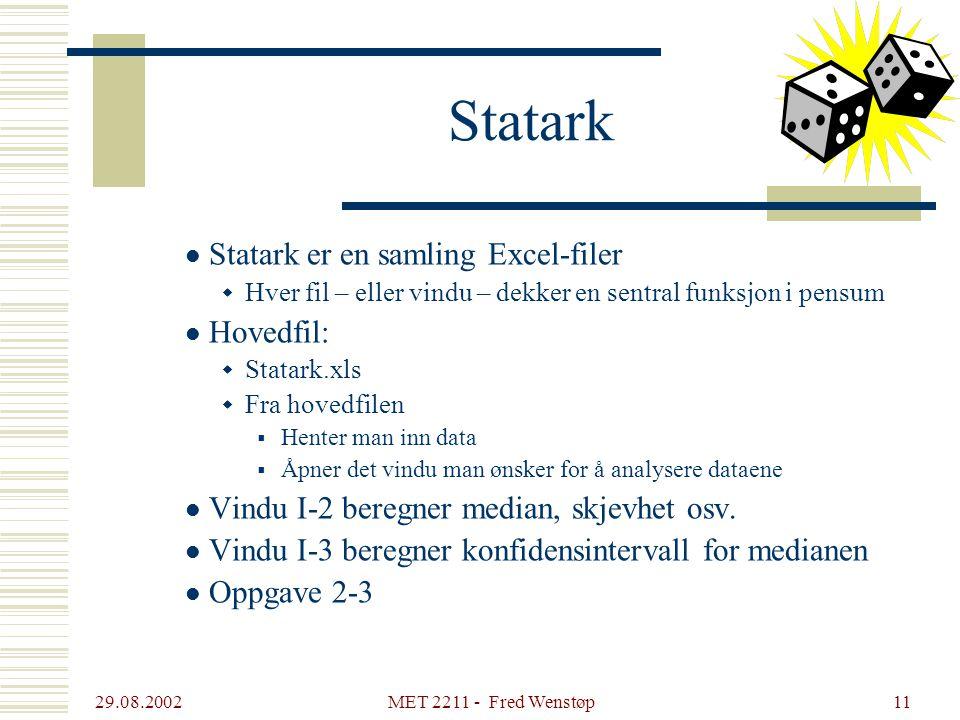 29.08.2002 MET 2211 - Fred Wenstøp11 Statark Statark er en samling Excel-filer  Hver fil – eller vindu – dekker en sentral funksjon i pensum Hovedfil