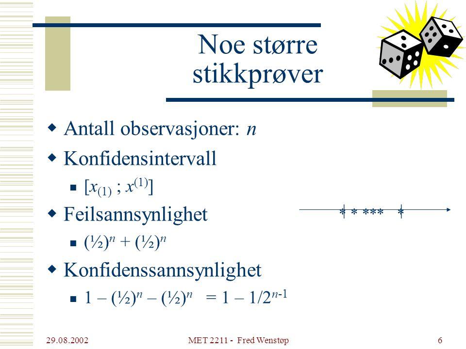 29.08.2002 MET 2211 - Fred Wenstøp6 Noe større stikkprøver  Antall observasjoner: n  Konfidensintervall [x (1) ; x (1) ]  Feilsannsynlighet (½) n +