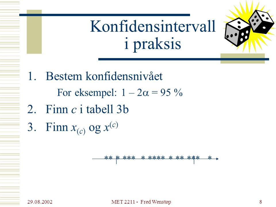 29.08.2002 MET 2211 - Fred Wenstøp8 Konfidensintervall i praksis 1.Bestem konfidensnivået For eksempel: 1 – 2  = 95 % 2.Finn c i tabell 3b 3.Finn x (