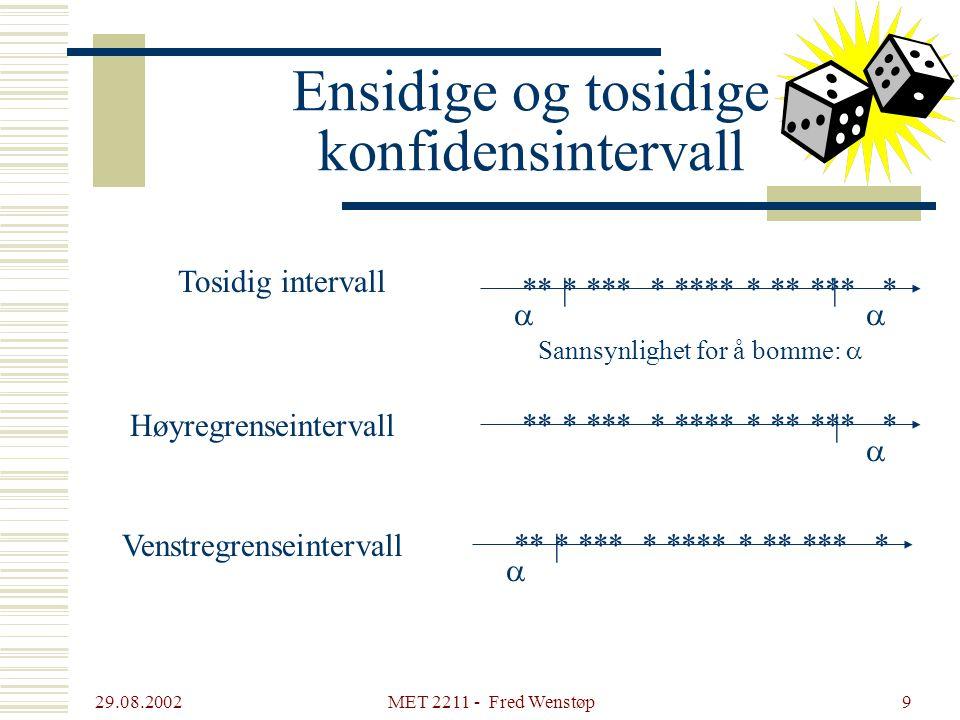 29.08.2002 MET 2211 - Fred Wenstøp9 Ensidige og tosidige konfidensintervall ** * *** * **** * ** *** *|  ** * *** * **** * ** *** * |  |  Tosidig