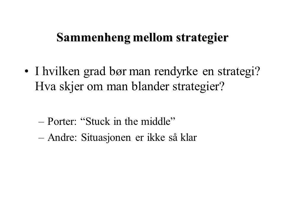 """Sammenheng mellom strategier I hvilken grad bør man rendyrke en strategi? Hva skjer om man blander strategier? –Porter: """"Stuck in the middle"""" –Andre:"""