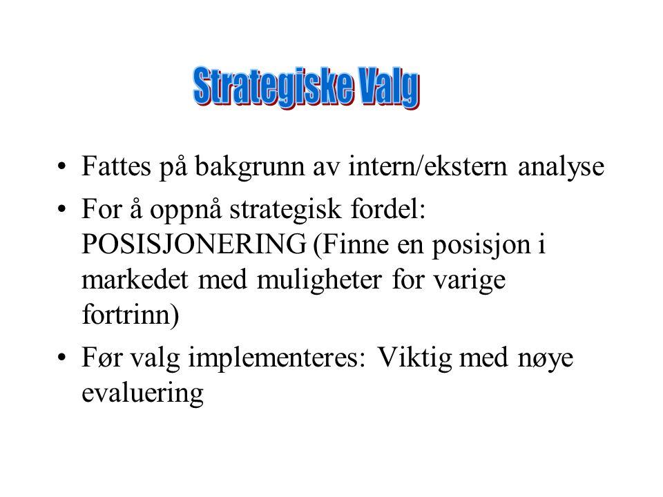 Fattes på bakgrunn av intern/ekstern analyse For å oppnå strategisk fordel: POSISJONERING (Finne en posisjon i markedet med muligheter for varige fort