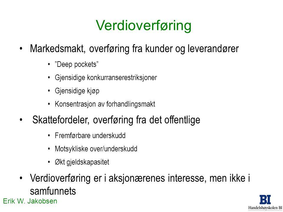 """Erik W. Jakobsen Verdioverføring Markedsmakt, overføring fra kunder og leverandører """"Deep pockets"""" Gjensidige konkurranserestriksjoner Gjensidige kjøp"""