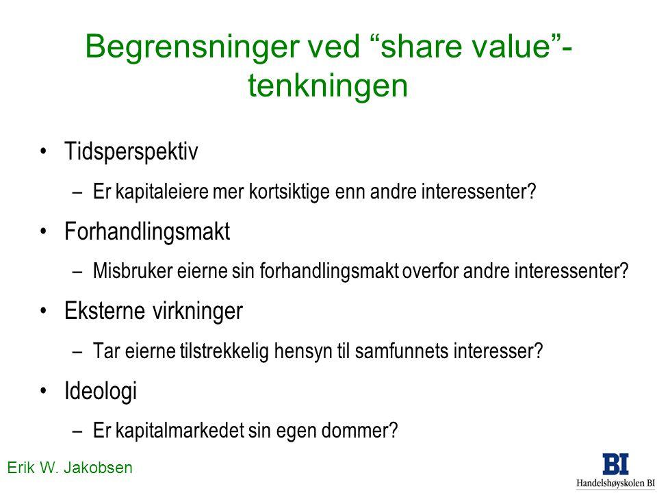 """Erik W. Jakobsen Begrensninger ved """"share value""""- tenkningen Tidsperspektiv –Er kapitaleiere mer kortsiktige enn andre interessenter? Forhandlingsmakt"""