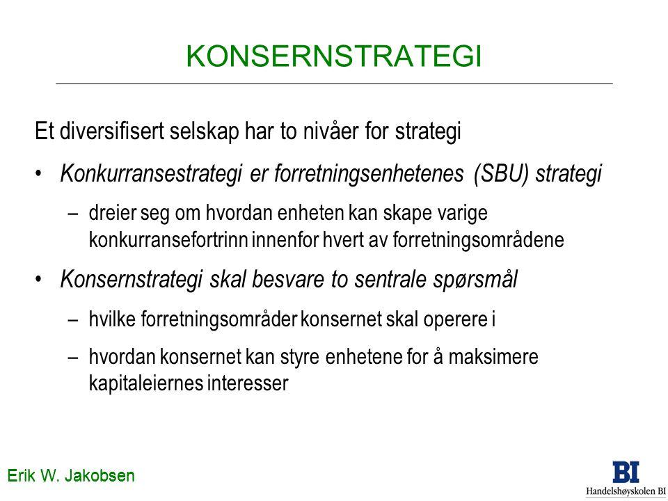 KONSERNSTRATEGI Et diversifisert selskap har to nivåer for strategi Konkurransestrategi er forretningsenhetenes (SBU) strategi –dreier seg om hvordan