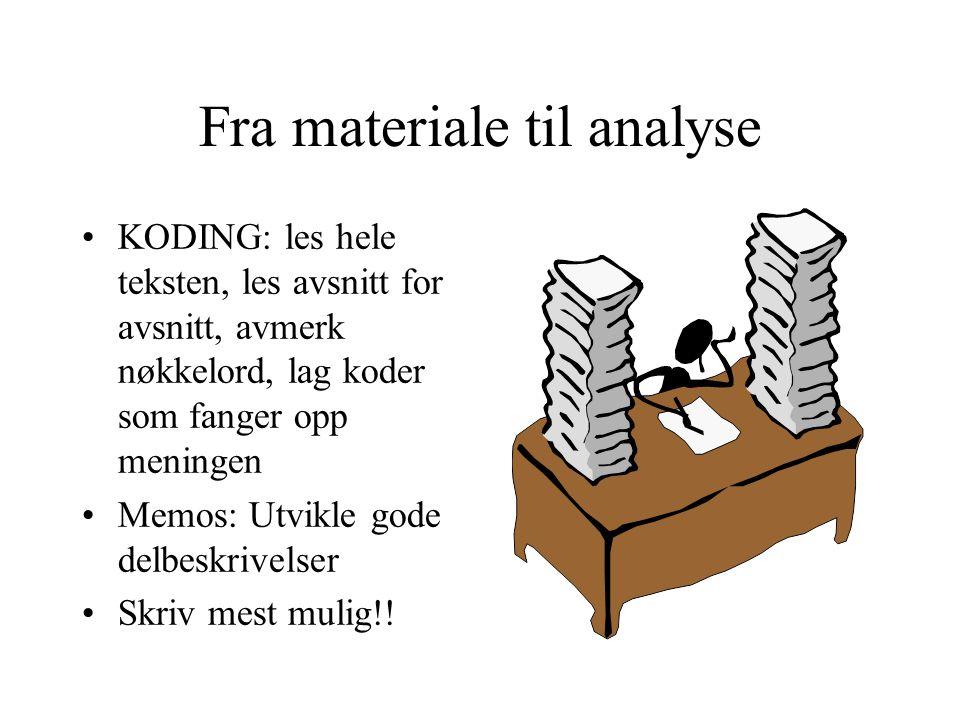 Fra materiale til analyse KODING: les hele teksten, les avsnitt for avsnitt, avmerk nøkkelord, lag koder som fanger opp meningen Memos: Utvikle gode d