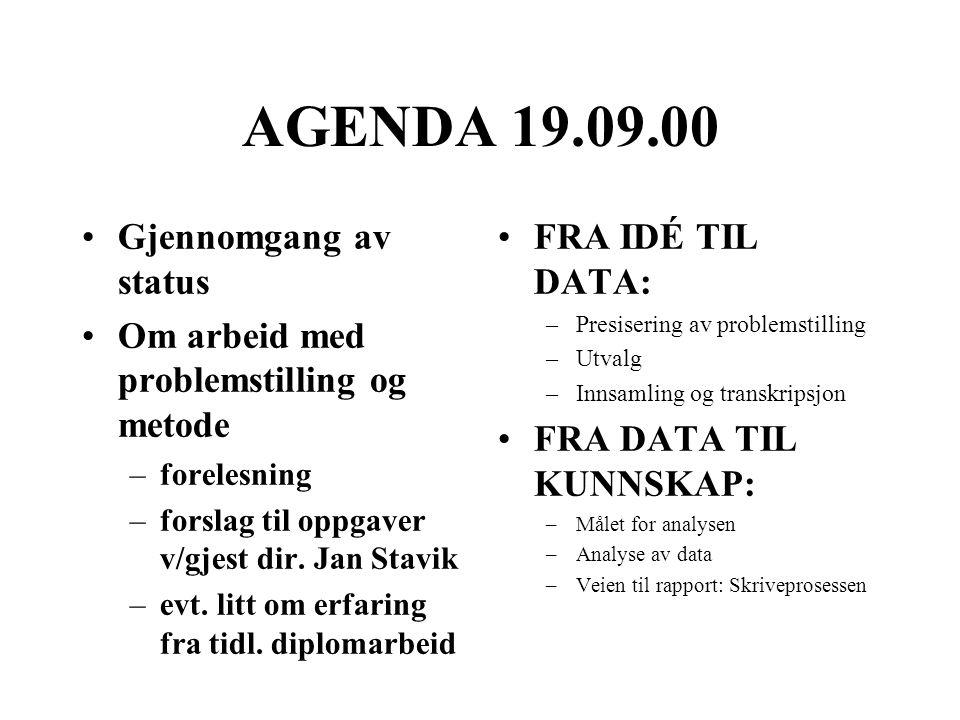 AGENDA 19.09.00 Gjennomgang av status Om arbeid med problemstilling og metode –forelesning –forslag til oppgaver v/gjest dir. Jan Stavik –evt. litt om