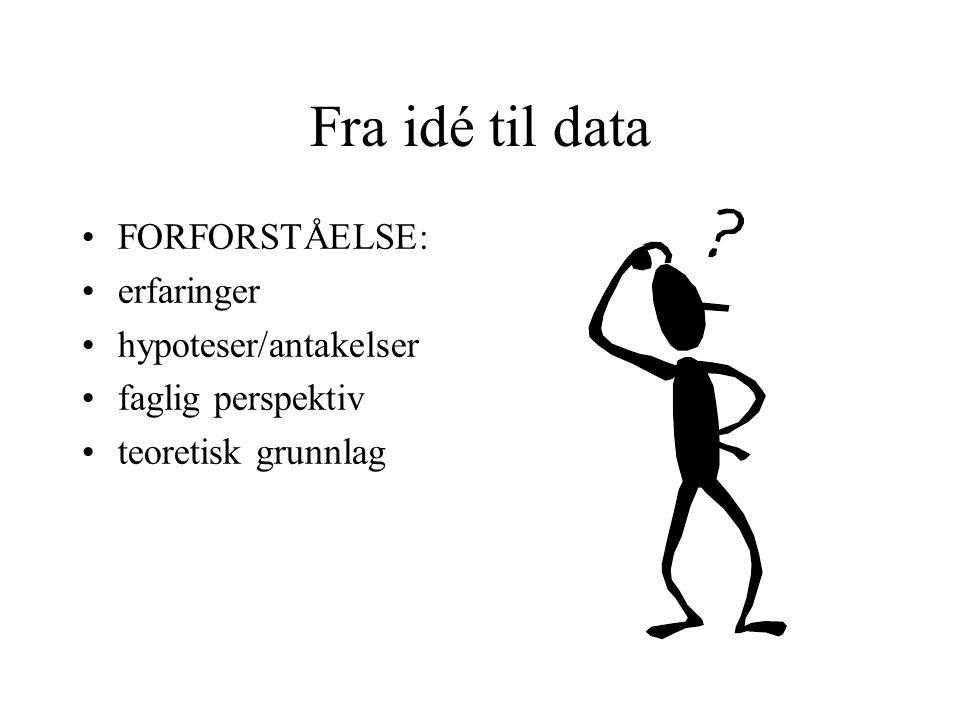 Fra idé til data FORFORSTÅELSE: erfaringer hypoteser/antakelser faglig perspektiv teoretisk grunnlag