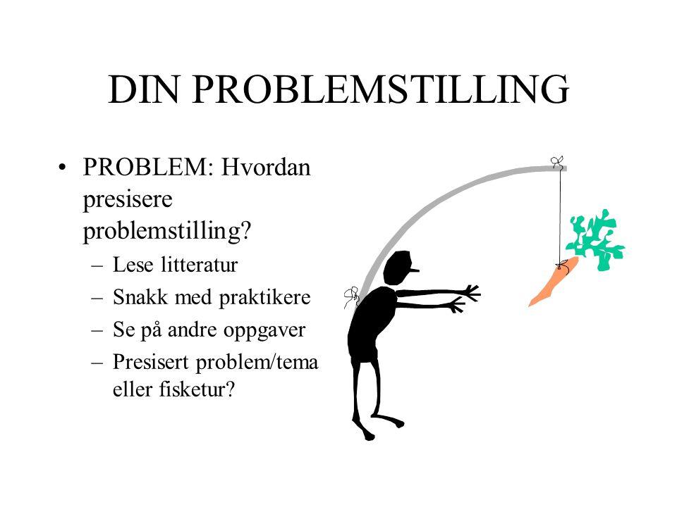 DIN PROBLEMSTILLING PROBLEM: Hvordan presisere problemstilling? –Lese litteratur –Snakk med praktikere –Se på andre oppgaver –Presisert problem/tema e