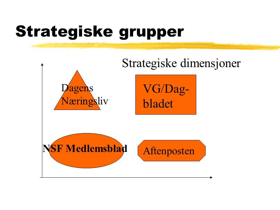 Strategiske grupper Strategiske dimensjoner VG/Dag- bladet Aftenposten Dagens Næringsliv NSF Medlemsblad