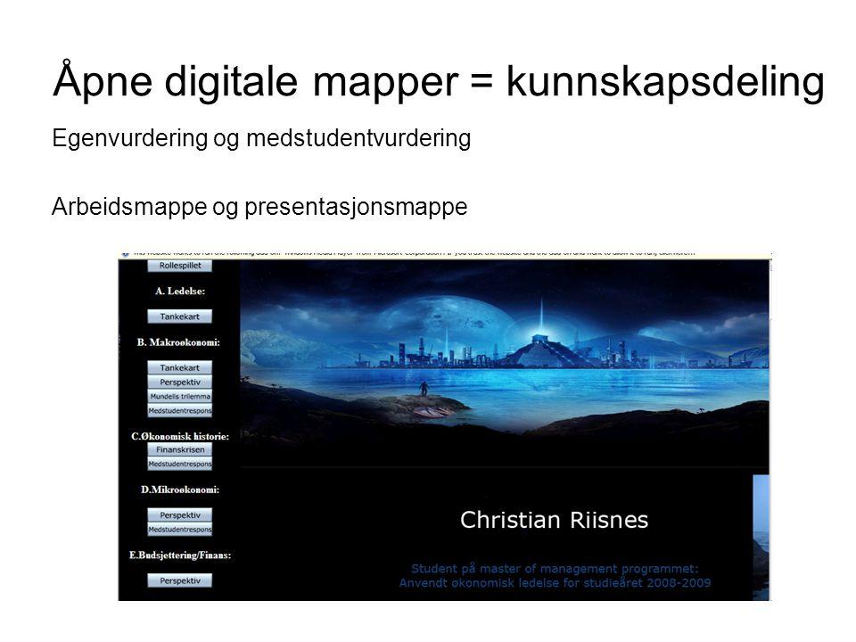 Åpne digitale mapper = kunnskapsdeling Egenvurdering og medstudentvurdering Arbeidsmappe og presentasjonsmappe