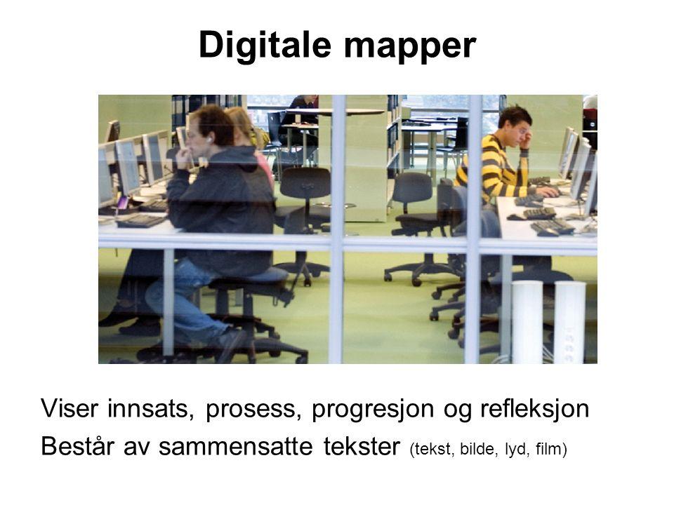 Digitale mapper Viser innsats, prosess, progresjon og refleksjon Består av sammensatte tekster (tekst, bilde, lyd, film)
