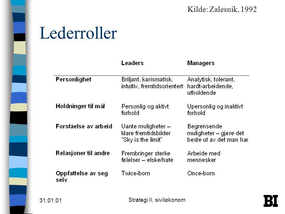 31.01.01 Strategi II, siviløkonom Entreprenørorientert ledelse n Stille spørsmålstegn ved nåværende paradigme og bidra til å utvikle en ny n Midler: –