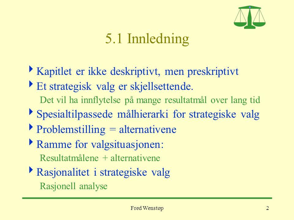 Fred Wenstøp3 5.2 Å formulere mål for strategisk valg Overordnet målhierarki for BI (fra nettsiden)