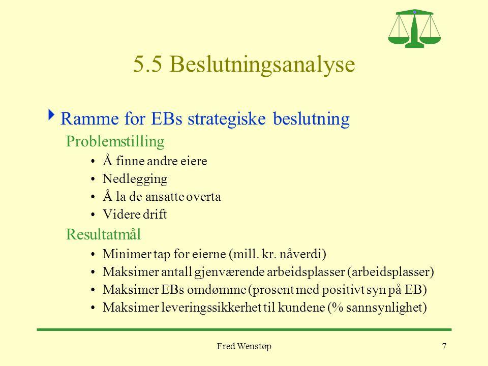 Fred Wenstøp8 EBs beslutningstabell En beslutningstabell skal inneholde konsistente og velfunderte forestillinger om konsekvensene av de strategiske alternativene – rasjonalitetskrav 1 og 2.