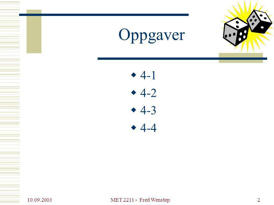 10.09.2003 MET 2211 - Fred Wenstøp2 Oppgaver  4-1  4-2  4-3  4-4