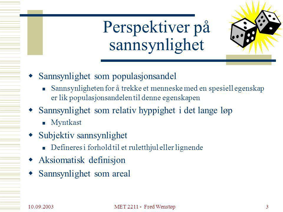 10.09.2003 MET 2211 - Fred Wenstøp3 Perspektiver på sannsynlighet  Sannsynlighet som populasjonsandel Sannsynligheten for å trekke et menneske med en