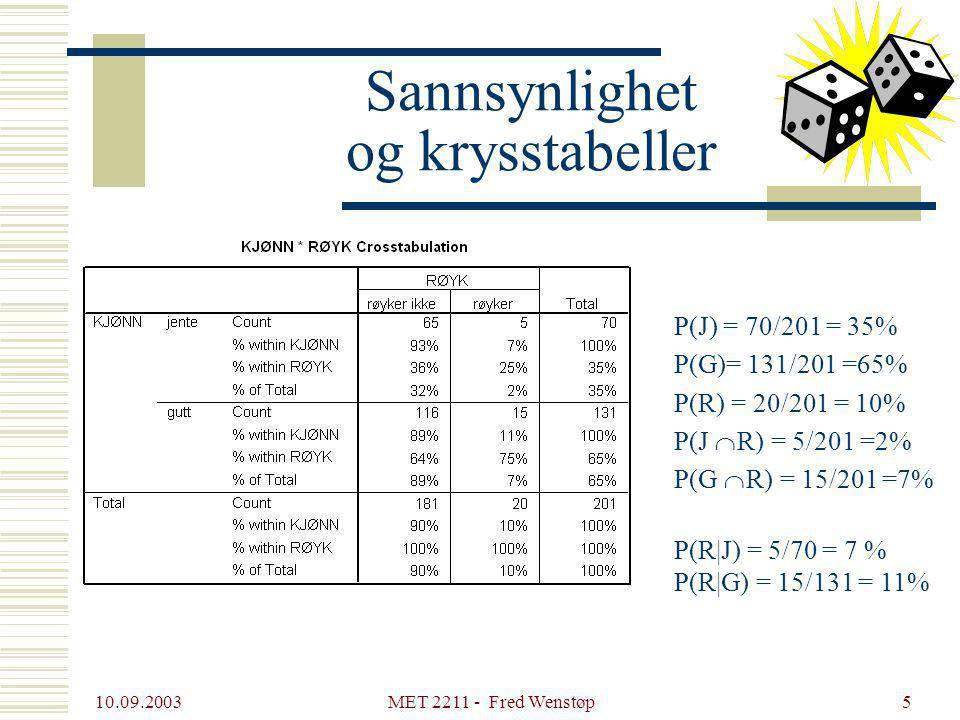 10.09.2003 MET 2211 - Fred Wenstøp5 Sannsynlighet og krysstabeller P(J) = 70/201 = 35% P(G)= 131/201 =65% P(R) = 20/201 = 10% P(J  R) = 5/201 =2% P(