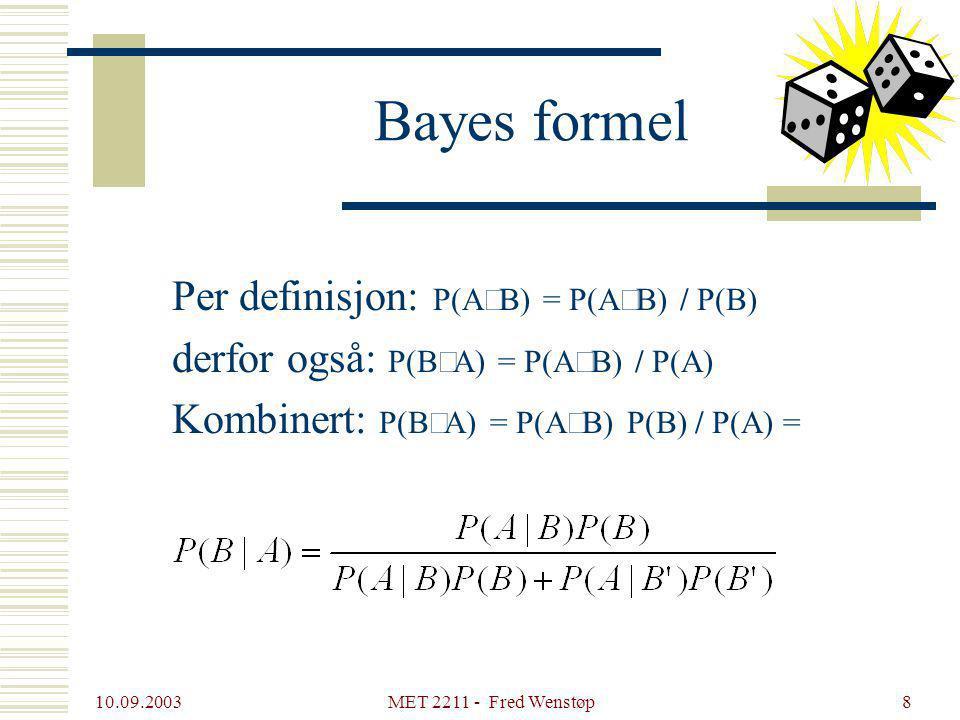 10.09.2003 MET 2211 - Fred Wenstøp9 Bayes formel, HIV-eksempel Elizatesten Sensitivitet: P(Test positiv  Smittet) = P(T+  S) = 0,99 Spesifisitet: P(T-  S') = 0,98 Prevalens i befolkningen: P(S) = 0,001 Testen din er positiv.