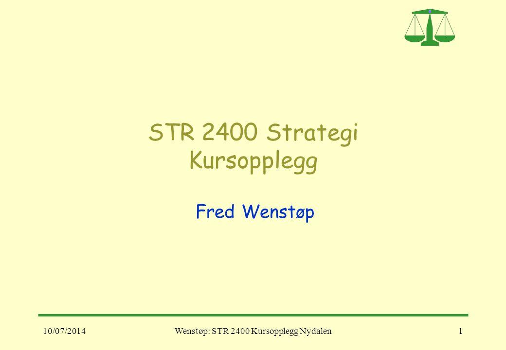 10/07/2014Wenstøp: STR 2400 Kursopplegg Nydalen1 STR 2400 Strategi Kursopplegg Fred Wenstøp