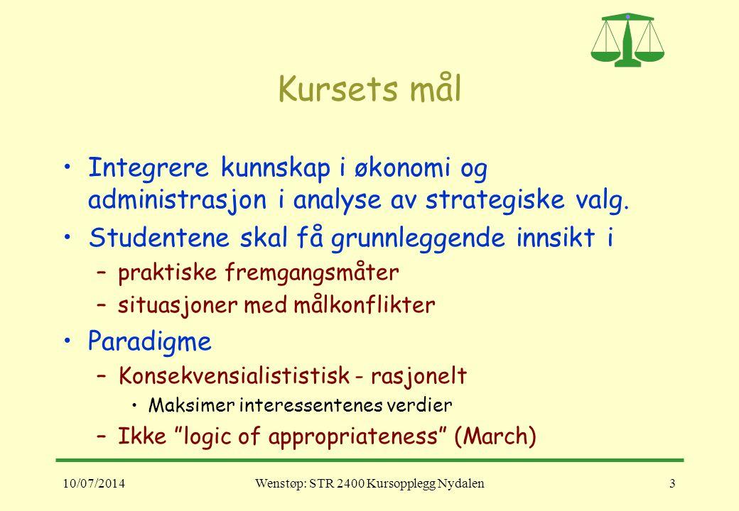 10/07/2014Wenstøp: STR 2400 Kursopplegg Nydalen3 Kursets mål Integrere kunnskap i økonomi og administrasjon i analyse av strategiske valg. Studentene