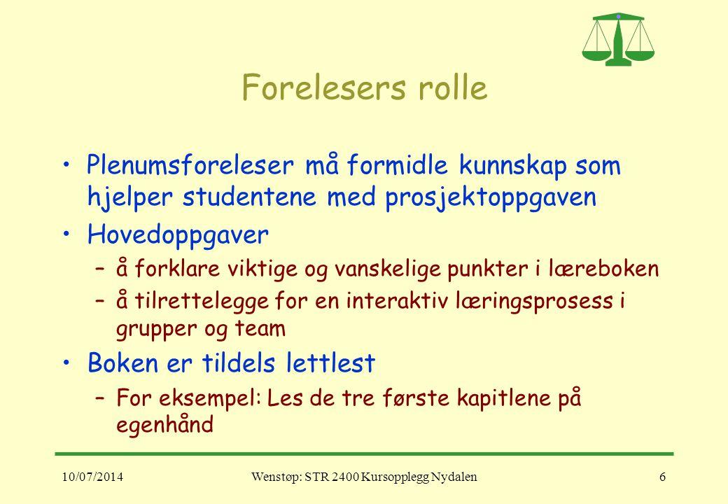10/07/2014Wenstøp: STR 2400 Kursopplegg Nydalen6 Forelesers rolle Plenumsforeleser må formidle kunnskap som hjelper studentene med prosjektoppgaven Ho