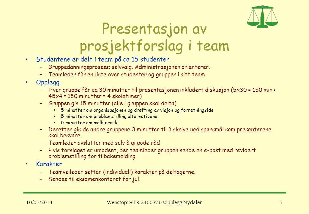 10/07/2014Wenstøp: STR 2400 Kursopplegg Nydalen7 Presentasjon av prosjektforslag i team Studentene er delt i team på ca 15 studenter –Gruppedanningspr
