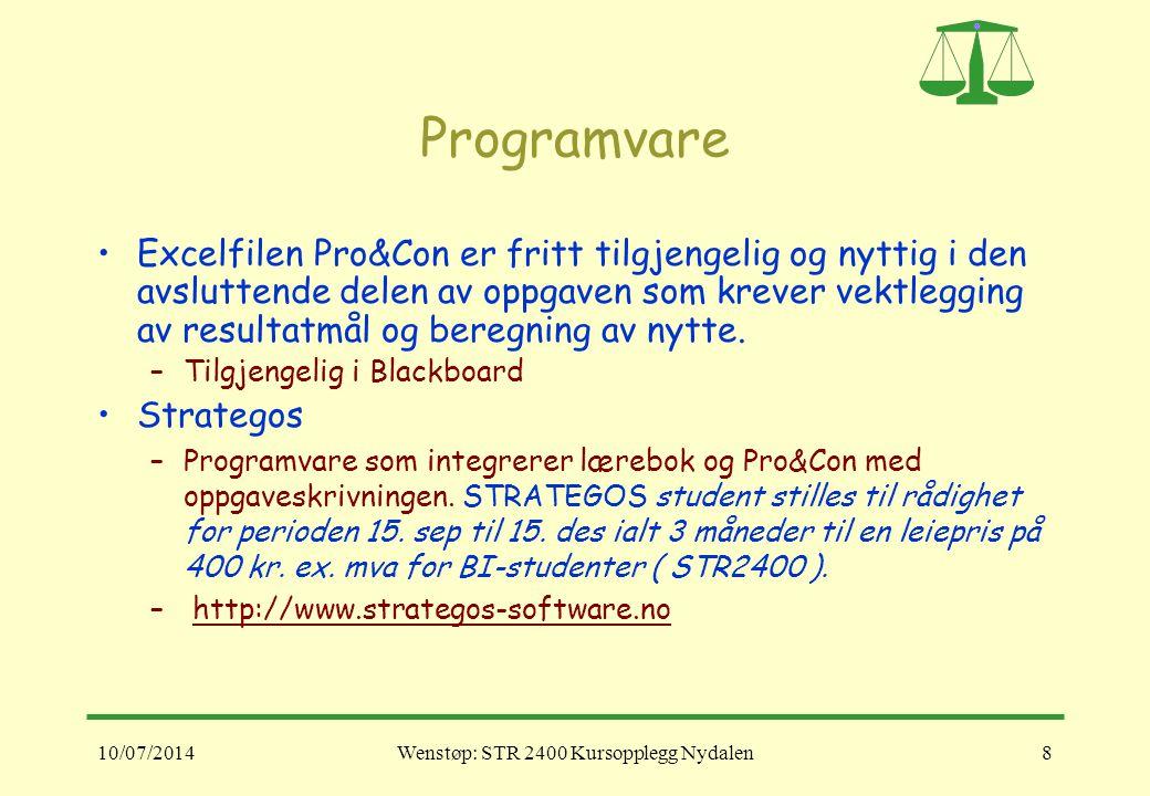 10/07/2014Wenstøp: STR 2400 Kursopplegg Nydalen8 Programvare Excelfilen Pro&Con er fritt tilgjengelig og nyttig i den avsluttende delen av oppgaven so