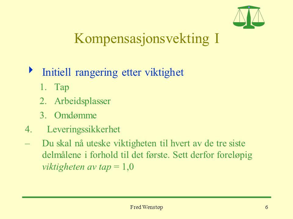 Fred Wenstøp6 Kompensasjonsvekting I  Initiell rangering etter viktighet 1.Tap 2.Arbeidsplasser 3.Omdømme 4.