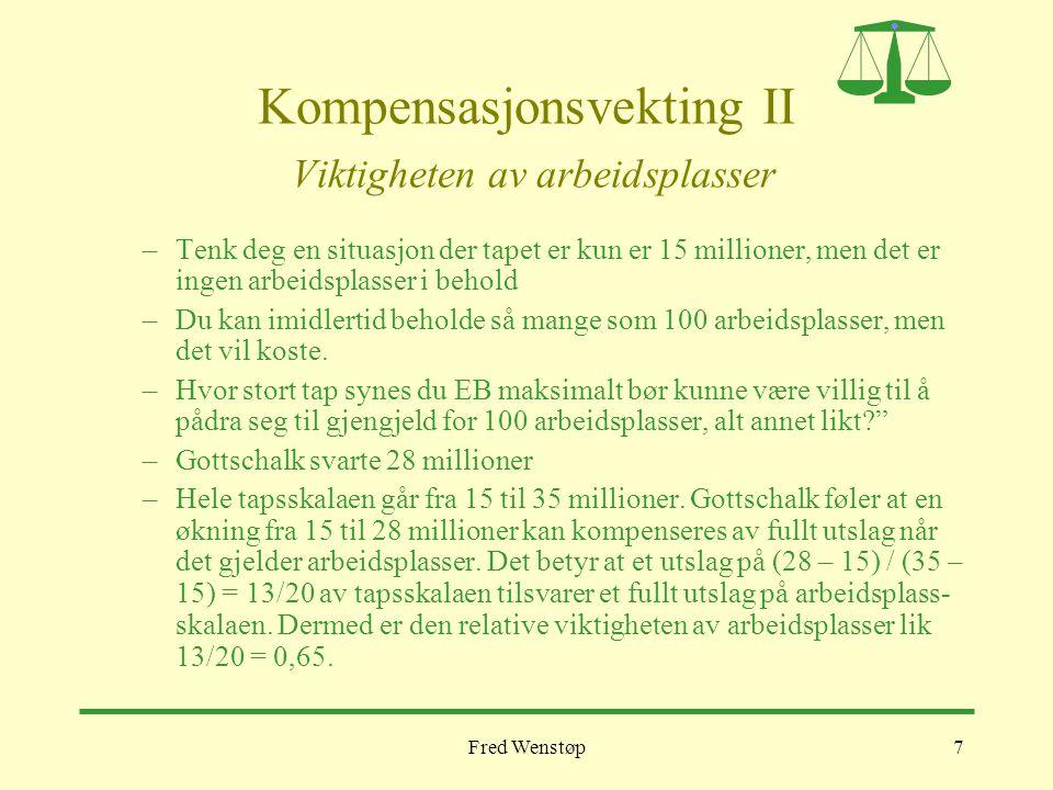 Fred Wenstøp7 Kompensasjonsvekting II Viktigheten av arbeidsplasser –Tenk deg en situasjon der tapet er kun er 15 millioner, men det er ingen arbeidsplasser i behold –Du kan imidlertid beholde så mange som 100 arbeidsplasser, men det vil koste.