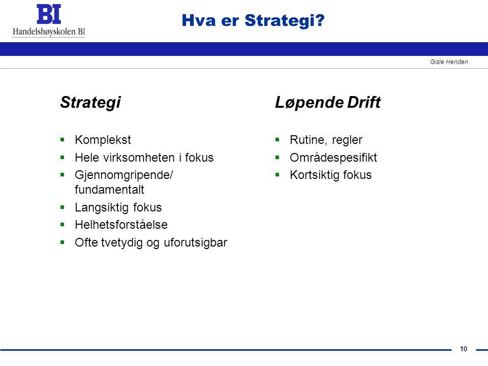 10 Gisle Henden Hva er Strategi? Strategi  Komplekst  Hele virksomheten i fokus  Gjennomgripende/ fundamentalt  Langsiktig fokus  Helhetsforståel