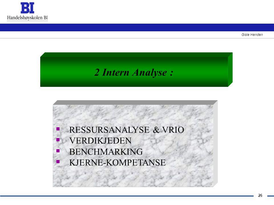 26 Gisle Henden 2 Intern Analyse :  RESSURSANALYSE & VRIO  VERDIKJEDEN  BENCHMARKING  KJERNE-KOMPETANSE