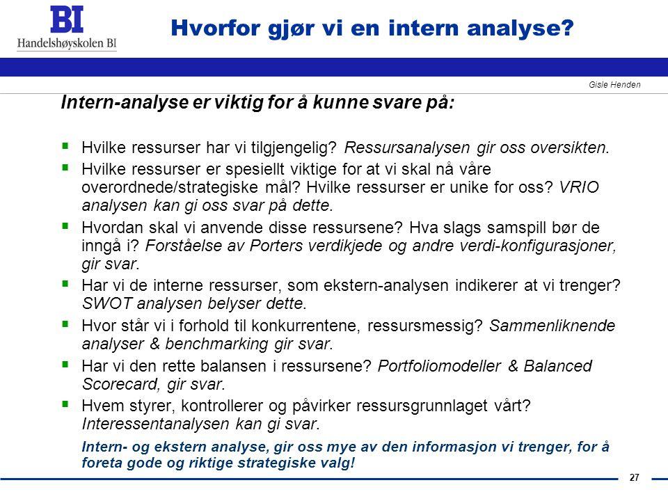 27 Gisle Henden Hvorfor gjør vi en intern analyse? Intern-analyse er viktig for å kunne svare på:  Hvilke ressurser har vi tilgjengelig? Ressursanaly