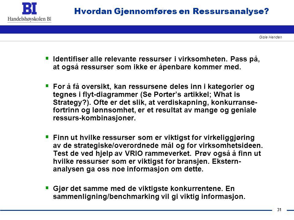 31 Gisle Henden Hvordan Gjennomføres en Ressursanalyse?  Identifiser alle relevante ressurser i virksomheten. Pass på, at også ressurser som ikke er