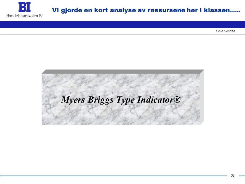 36 Gisle Henden Vi gjorde en kort analyse av ressursene her i klassen..... Myers Briggs Type Indicator®